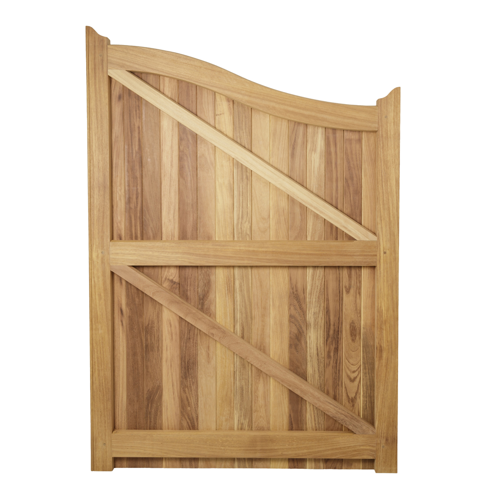 Back of fully boarded gate with curved top showing braces