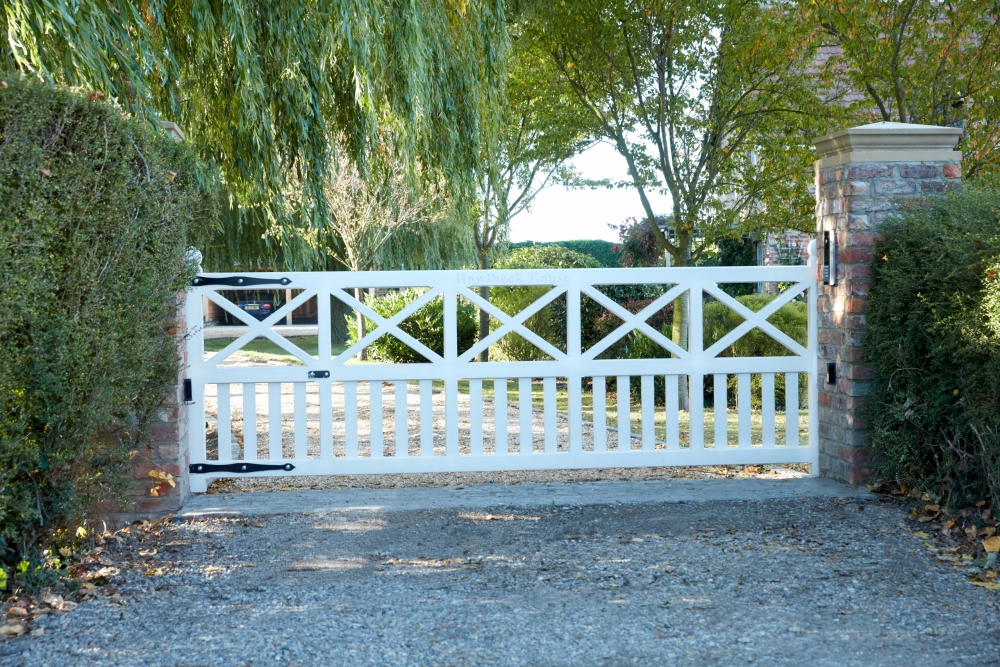 Painted gate with crosses and uprights