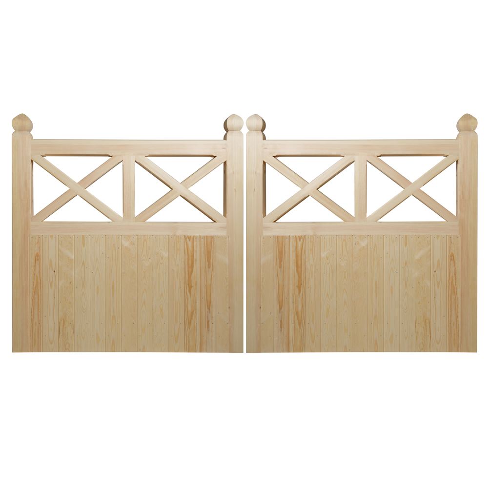 Pair of Crome style softwood gates semi boarded with cross design at top