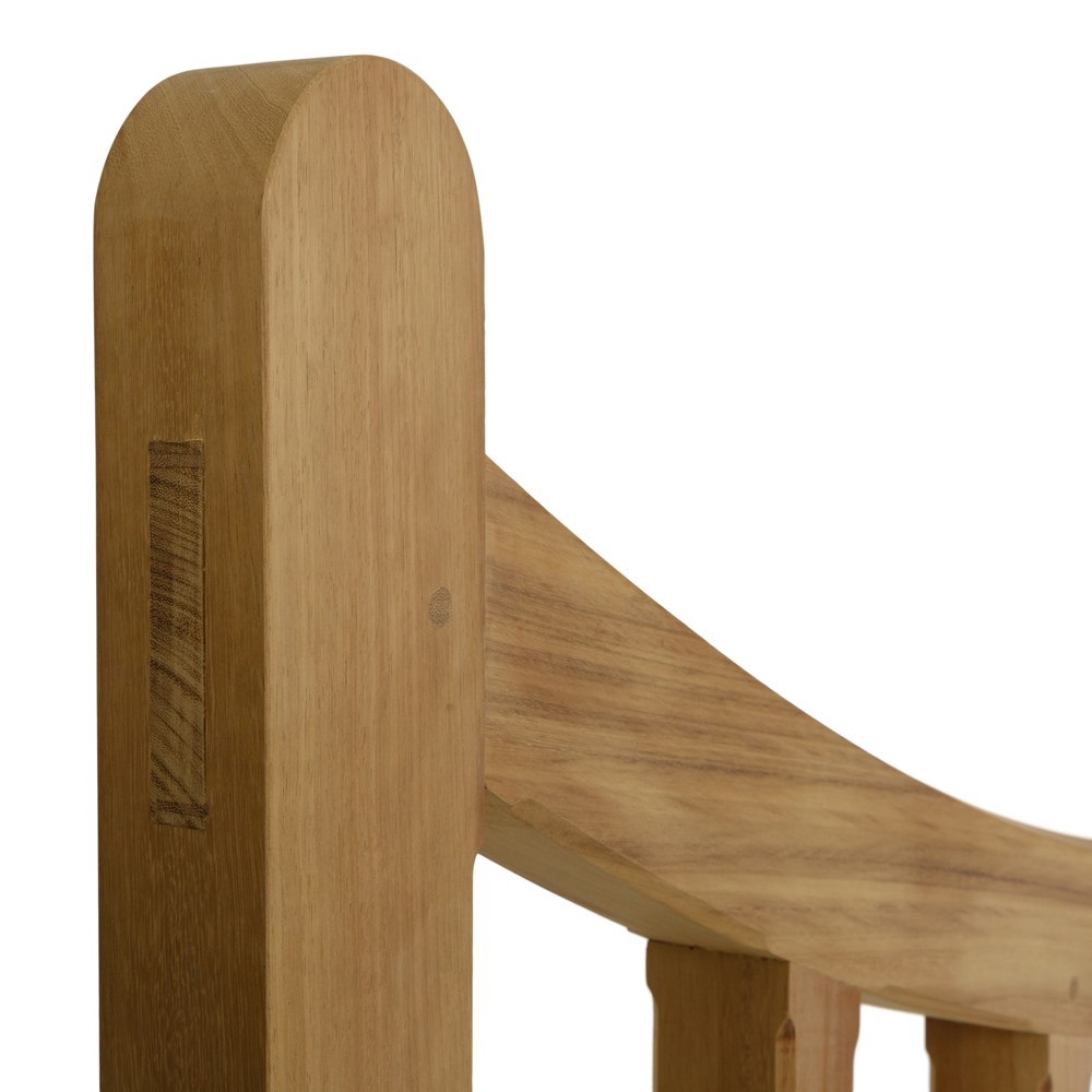 Curved iroko top spell with mortise and tenon joint