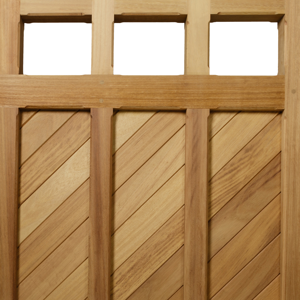 Frith hardwood iroko gate with horizontal boards and chamfered detail
