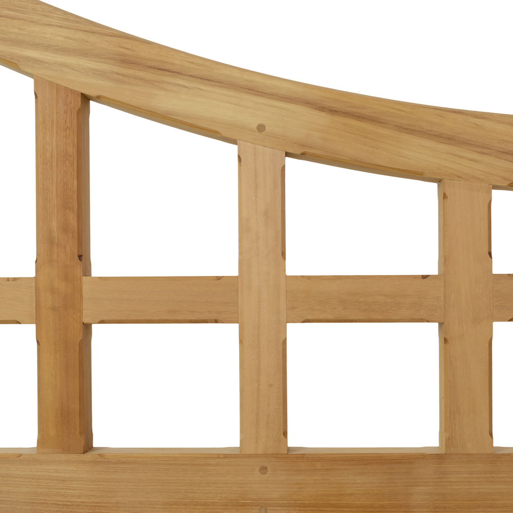 Iroko gate detail with curved top and lattice work