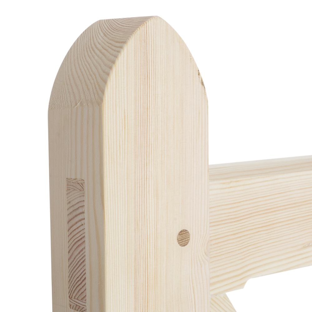Heel showing arched heel and mortise and tenon joint