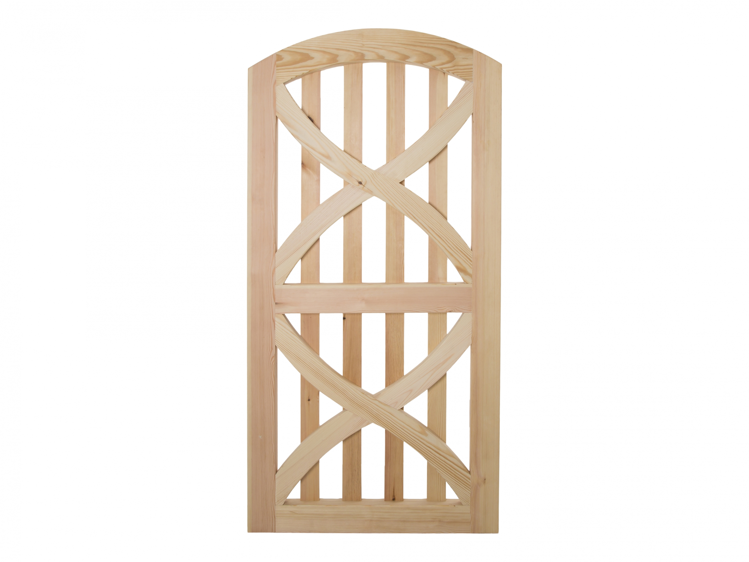 Single tall Linton gate with curved top and curved braces and uprights