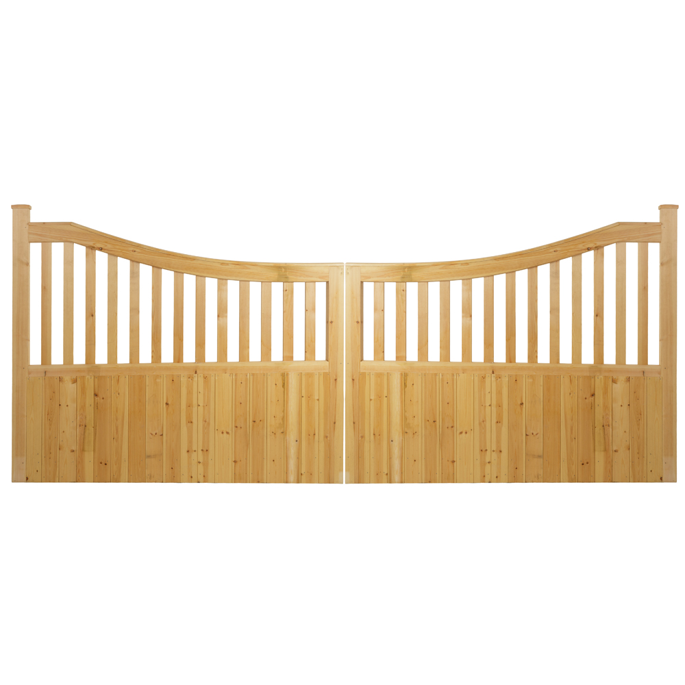 Pair of softwood Danby style gates with curved top uprights and solid boarded bottom