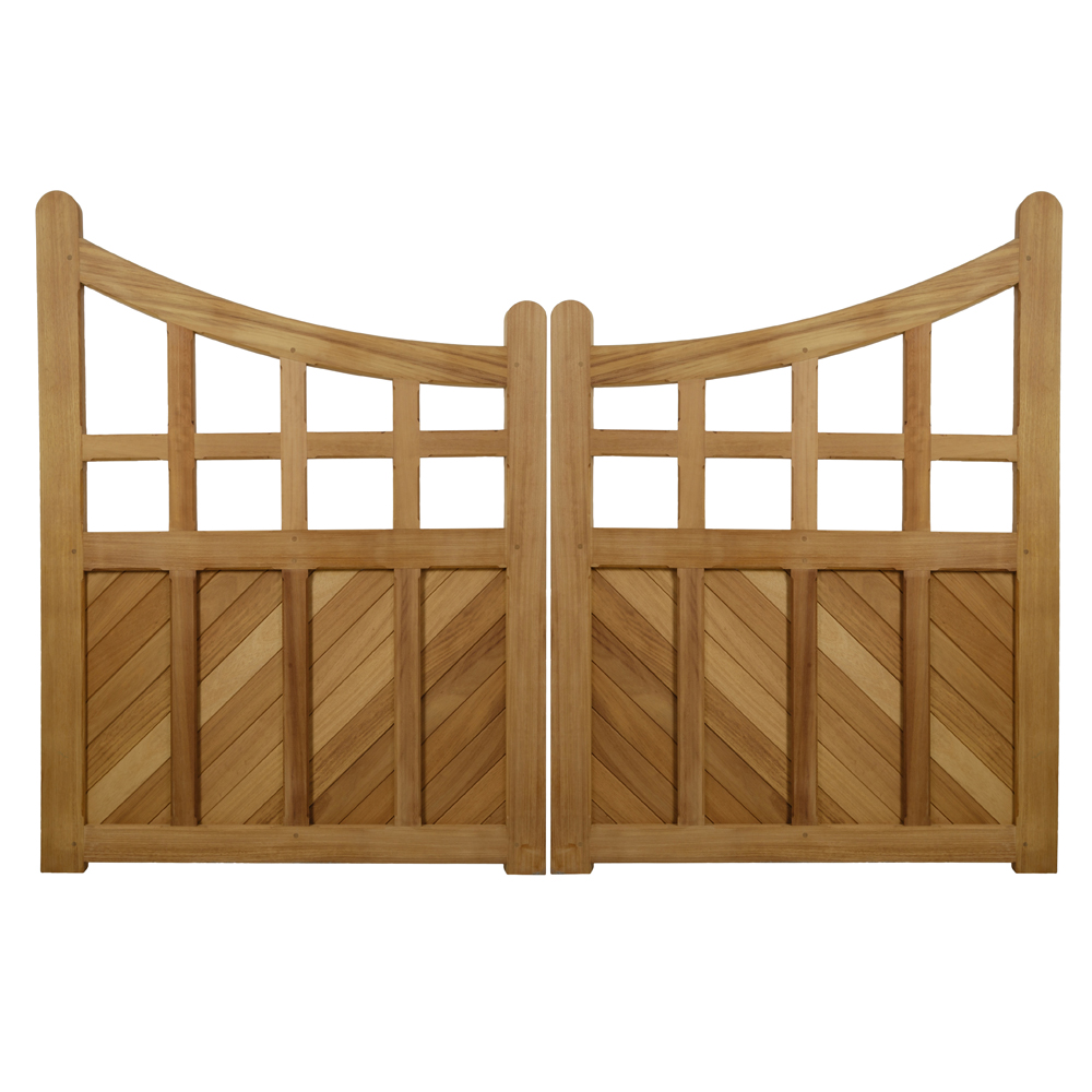 Pair of arts and crafts style gates Frith in hardwood