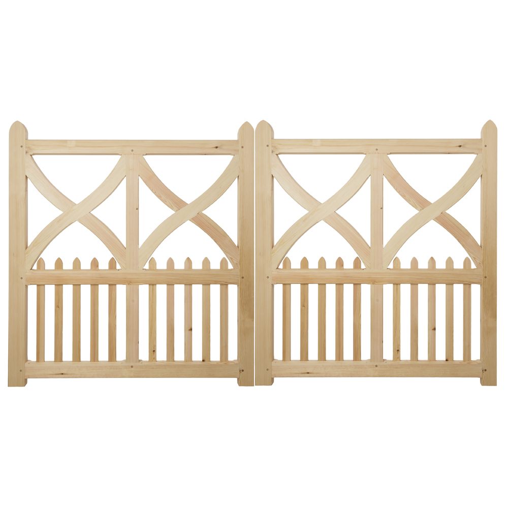 Pair of wooden Girtin gates with curved crosses and uprights