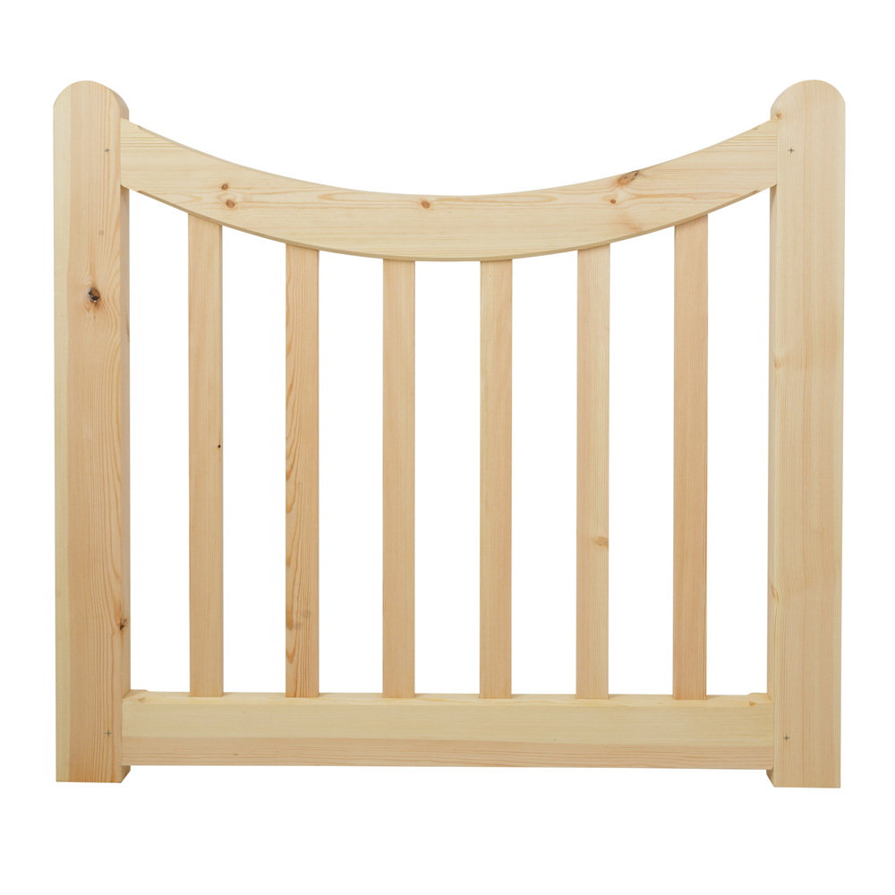 Small softwood sandby garden gate with curved top and uprights