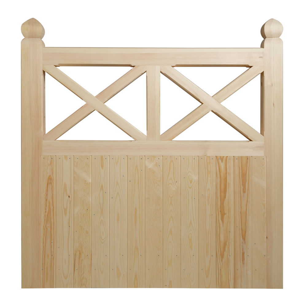 Semi boarded softwood gate with cross at top and shaped finials