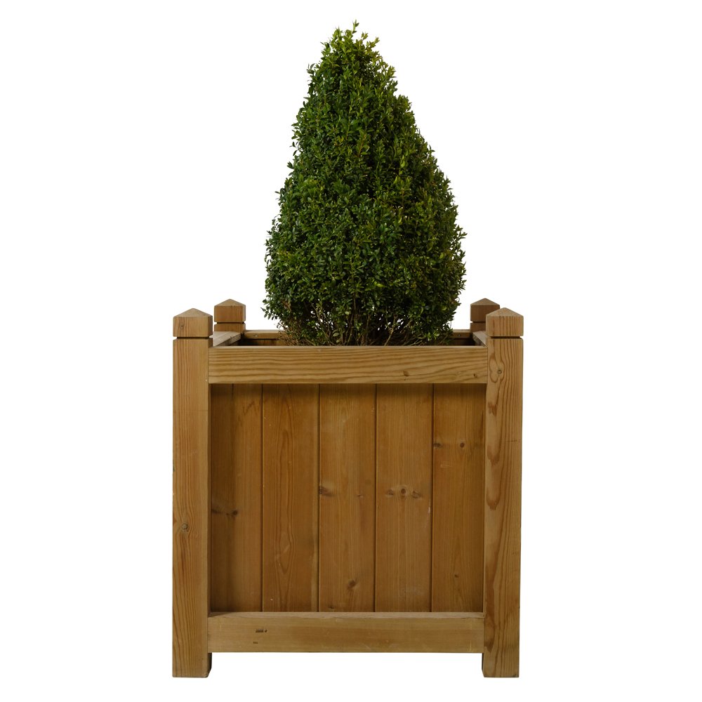 Large softwood wooden planter with shaped finials