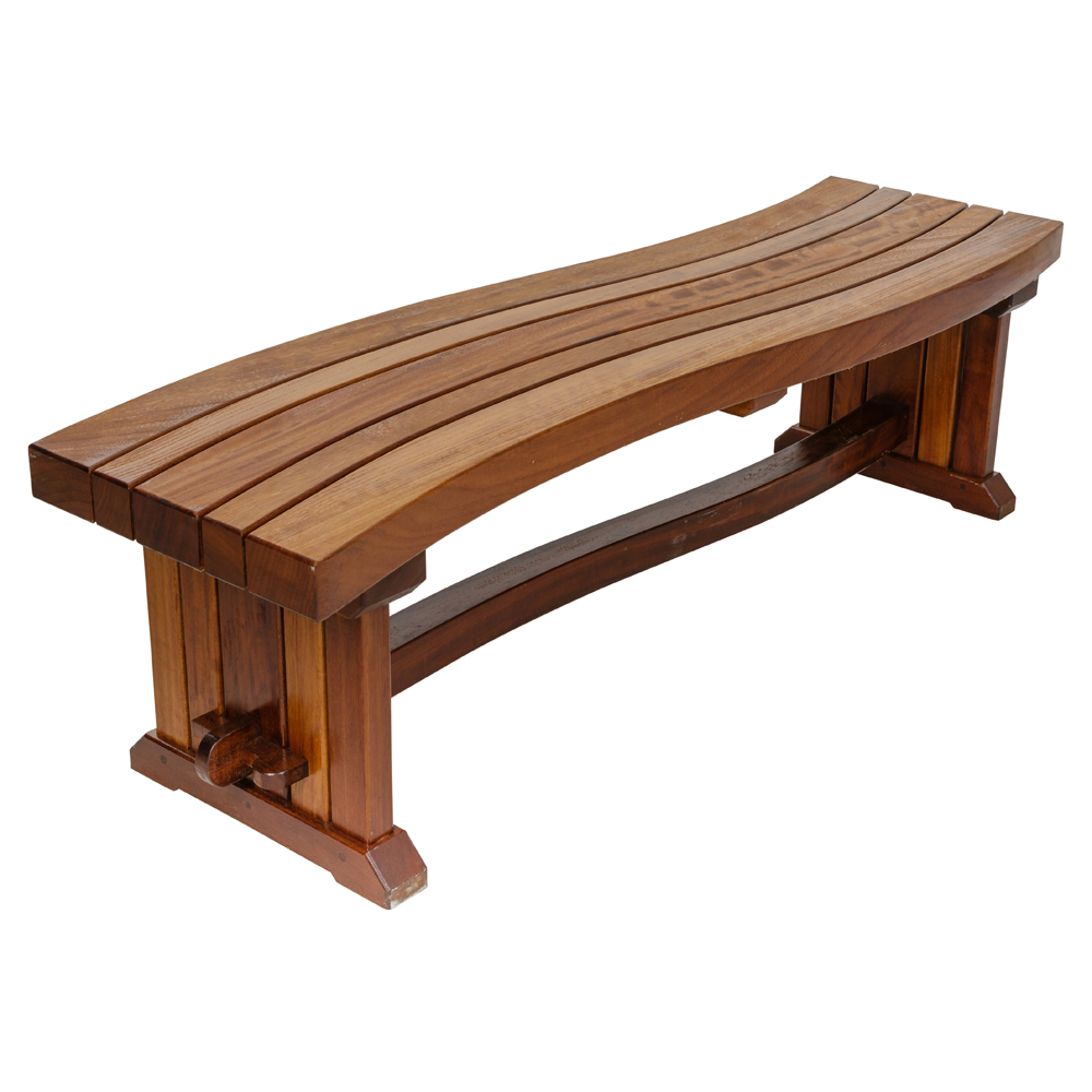 Iroko hardwood curved outdoor bench with curved lats