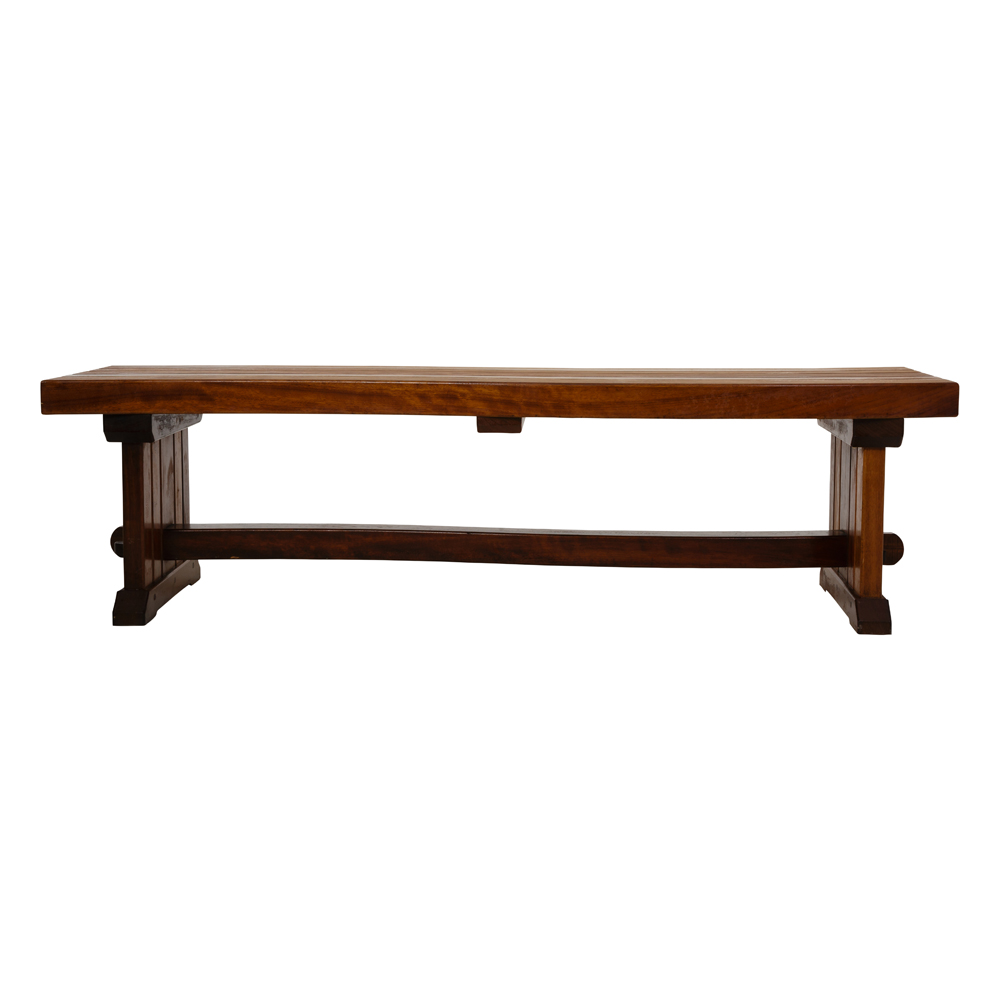 Hardwood or softwood bespoke bench with curved top and stretcher