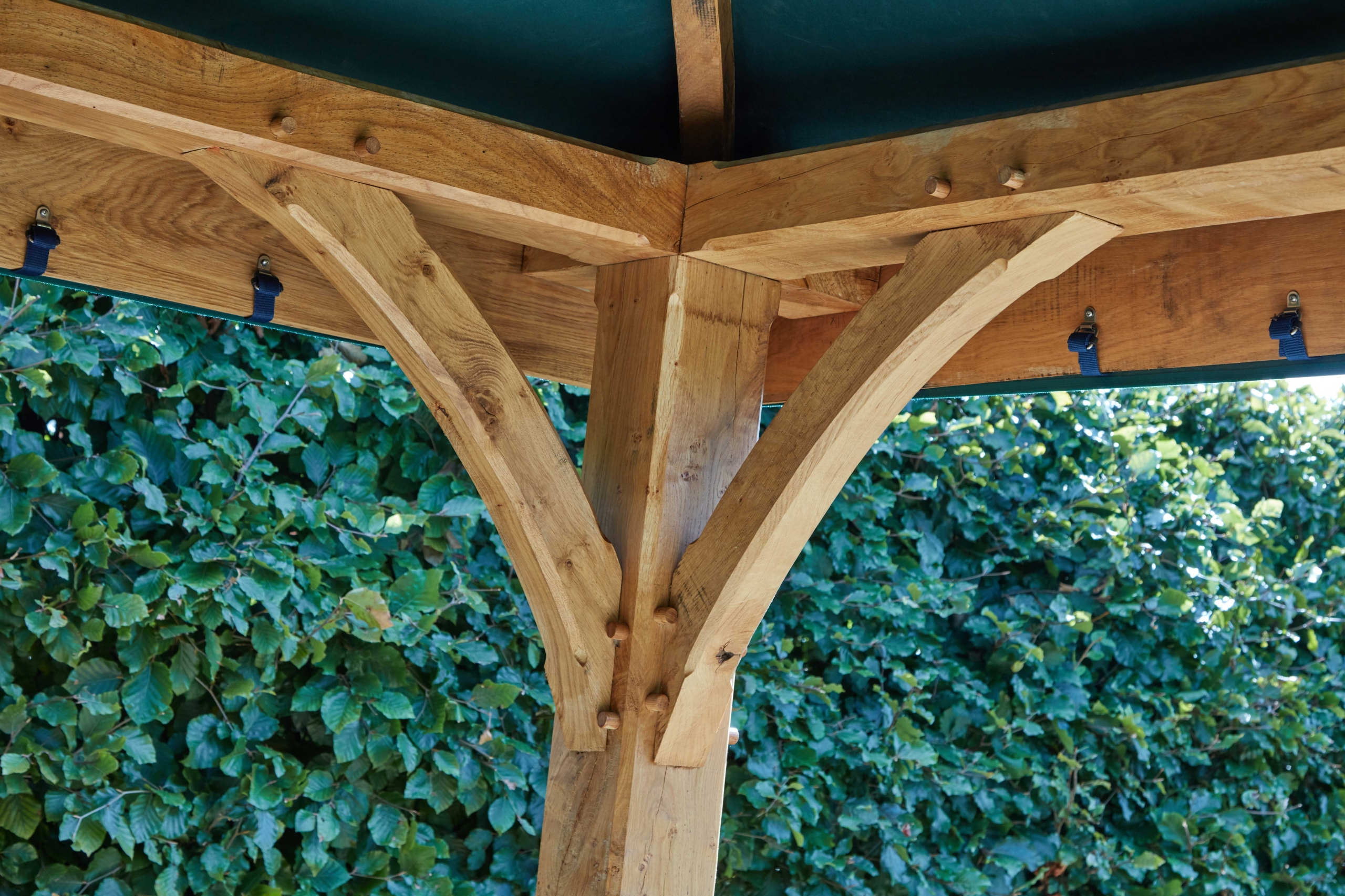 Interior roof of oak framed gazebo with pegged joints
