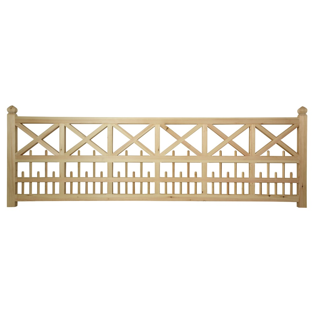An intricate softwood gate with crosses and uprights